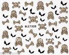 Halloween 3D Nail Art Stickers Decals Gold Glitter Skull Bones Crossbones Bat