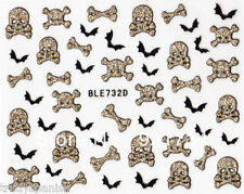 Halloween 3D Nail Art Stickers Decals Gold Glitter Skull Bones Crossbones Bat