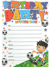 20 x Football Soccer Birthday Party Invitation Sheets & Envelopes