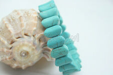 NEW Genuine blue Turquoise Colored Beaded Stretch Bracelet 7.2""