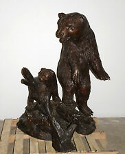 """55""""H Large Real Bronze Statue Bear Mom and Son w/ Fish Sculpture Garden Yard Art"""