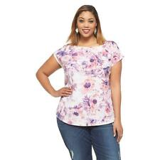 New Ava & Viv Size 4X Pink Blouse Tunic Short Sleeve Floral Plus 28-30W