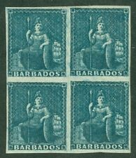 SG 10 Barbados 1d deep blue. A fine fresh lightly mounted mint block of 4...