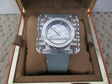 NWT Auth Tory Burch Izzie Light Blue Patent Square Logo Face Watch w/ Box $450