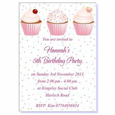 Personalised Childrens Birthday Party Invitations Thank You Cards Cupcake Girls