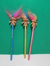 THREE GOOD LUCK TROLL PENCILS w/RAINBOW HAIR - Russ Troll Doll - NEW