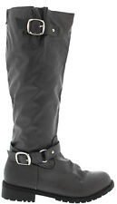NEW Gray KNEE HIGH FLAT Buckle Zipper RIDING BIKER TALL BOOTS Faux Leather Sz 6