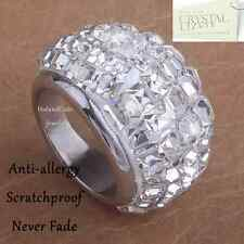 Genuine Swarovski Crystals Stainless Steel Silver Eternity Solid Ring Size 7 O