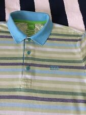 Mens Hugo Boss Green Label 'Paddy2' Light Green Striped Polo Shirt In Large