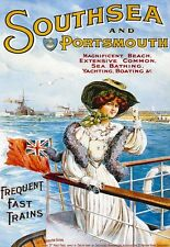 Poster Southsea Portsmouth Sea Boating Train Travel