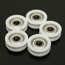 5x 8*30*10mm 608zz U Groove Guide Pulley Sealed Rail Ball Bearing Nylon Embedded
