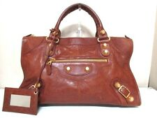 Authentic BALENCIAGA Brown Editor's Bag The Giant Work 173080 Leather Handbag