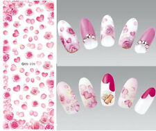 Valentines Nail Art Water Decals Stickers Pink Hearts Roses Flowers Petals DS220