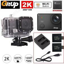 """Gitup Git2 Pro 1.5"""" WiFi 2K 16MP Sports Action Camera+Dual Battery Charger Kit"""