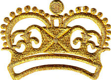 CROWN, GOLD METALLIC-Iron On Embroidered Applique Patch/Crowns, Regal, Fashion