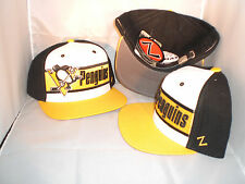 PITTSBURGH PENGUINS NHL BLACK N YELLOW N WHITE BIG BOY LEATHER STRAPBACK HAT CAP
