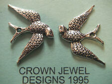 6 tibetan silver bird charms perles retro artisanat swift avaler hawk findings pins