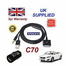 VOLVO C70 Audio iPhone 3GS 4 4SiPod USB & Aux Cable + Adapter in black