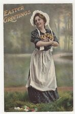 Women & Chicks, Tuck Easter 1717 Postcard, B085