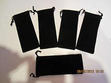 "5 VELOUR BLACK PEN DRAW STRING POUCHES-2 1/8""X 4 3/4"""