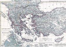 Echte alte Landkarte BYZANZ Byzantine Empire Konstantinopel Zypern Kreta 1854