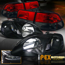 1999-2000 Honda Civic EK9 Coupe Black Type R Head Light W/ Red Smoke Tail Lamps