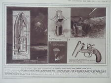1915 STAR SHELLS FLARES DIAGRAMS; ANTI AIRCRAFT FIELD GUN  WWI WW1 DOUBLE PAGE