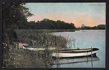 View of boats moored of Fritton Lake, Norfolk. Stamp/postmark 1904