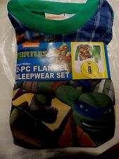 Newest New Boys Ninja Turtles 2 piece Flannel Pajamas Sleepwear Set Size 8