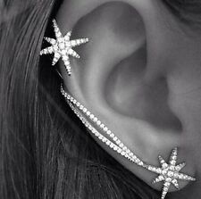 Silver Plated Star Ear Cuff Stud Earrings Sweep Wrap Leaf Climber Rings Fashion