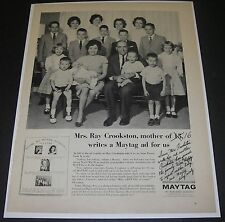 Print Ad 1963 APPLIANCE Maytag Washer Mrs Ray Crookston Provo Utah Mother of 16
