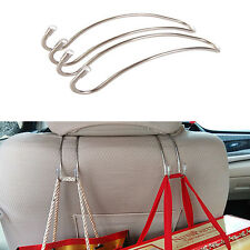2ps Car Stainless Steel Seat Back Headrest Hanger Hook Bag Coat Holder Organizer