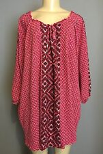 CATHERINES 2X 22 24 Top Red Peasant Drawstring Neck Stretch Cotton 3/4 Sleeve