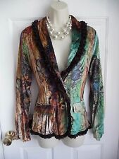Alberto Makali M Jacket Blazer ART TO WEAR Crushed Printed Velvet Romantic Lace