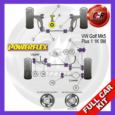 VW Golf Mk5 Plus 2WD 03-09 Powerflex Full Kit Frt Wishbone Frt Bushes Camber Adj