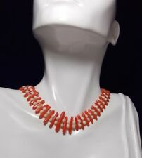Vintage Angel Skin Red Salmon Branch Round Bead Coral Choker Necklace 4B 48