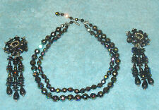 Vintage Deco Austrian Crystal 2 Strand Carnival Glass Bead Necklace & Earrings