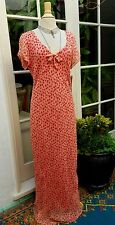 ROBBIE BEE Coral Peach Dot Silk Maxi 30s Style Garden Tea Gatsby Dress