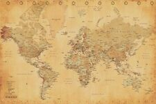 REPRODUCTION ANTIQUE GIANT MAP OF THE WORLD POSTER