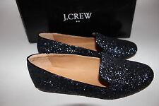 NIB J.CREW Size 6 Women's Navy Glitter Patent Trim ADDIE Loafer Shoe