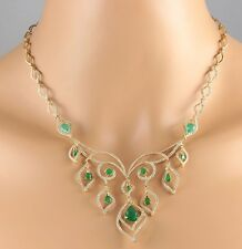 14.80CTW NATURAL EMERALD AND DIAMOND NECKLACE IN 18K YELLOW GOLD