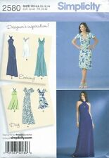 New Women's Long & Short Draped Evening Gown and Day Dress Sewing Pattern UNCUT
