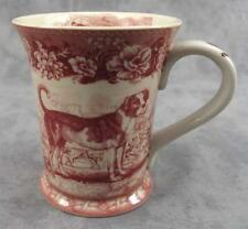 RED & CREAM TRANSFERWARE VICTORIAN COUNTRYSIDE DOG TOILE MUG ~ 12 Ounce ~