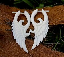 Organic White Bone Earrings  Fake Gauges Split tribal hand made fake piercings