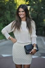 ZARA beige nude pearl beaded skirt embroidered bloggers sold out Small S
