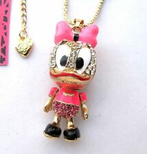 Betsey Johnson crystal/Pink enamel Cartoon little duck pendant Necklace#297L F