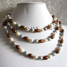 """50"""" 7-9mm White Gray Coffee Rice Freshwater Pearl Necklace Jewelry UK"""