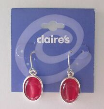 BD Simple basic Pink dangle Earrings CLAIRES FASHION JEWELRY silver tone