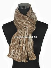 Stunning 2-Layer 100% Silk Velvet Long Neck Scarf w/ Sequin, Beige