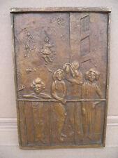 Relief Bronze Edgar Augustin Kinder auf dem Balkon Hamburg
